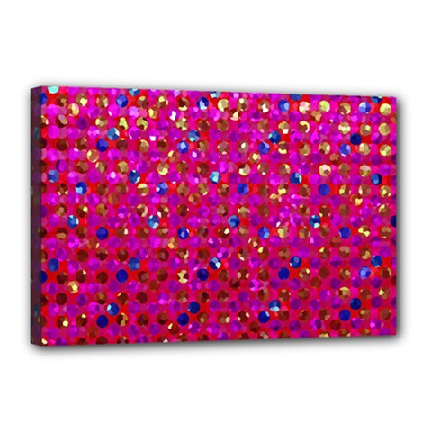 Polka Dot Sparkley Jewels 1 Canvas 18  x 12  (Framed)