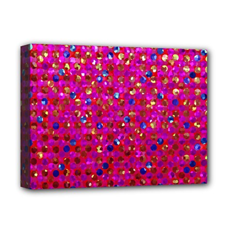 Polka Dot Sparkley Jewels 1 Deluxe Canvas 16  x 12  (Framed)