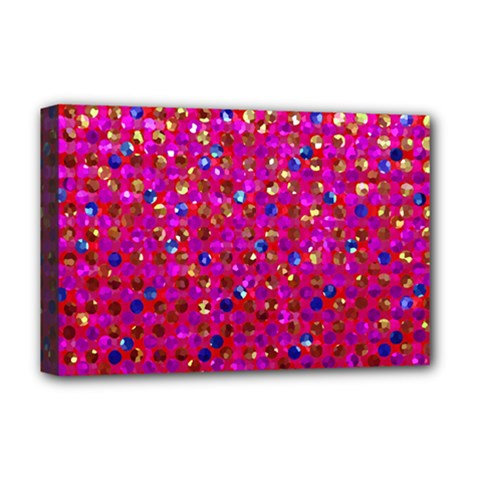 Polka Dot Sparkley Jewels 1 Deluxe Canvas 18  X 12  (framed)