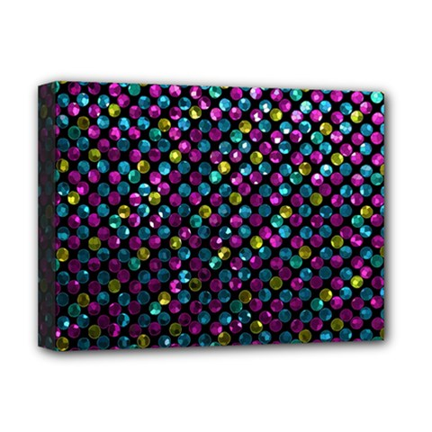 Polka Dot Sparkley Jewels 2 Deluxe Canvas 16  X 12  (framed)