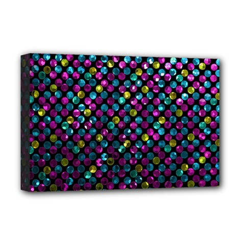 Polka Dot Sparkley Jewels 2 Deluxe Canvas 18  x 12  (Framed)