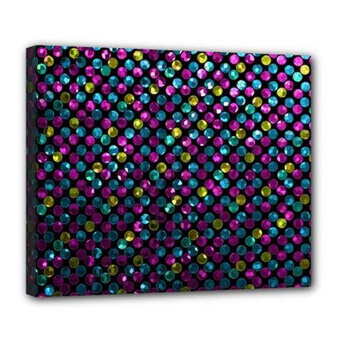 Polka Dot Sparkley Jewels 2 Deluxe Canvas 24  x 20  (Framed)