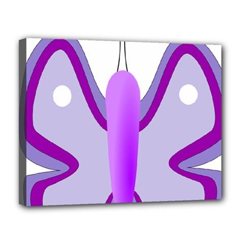 Cute Awareness Butterfly Canvas 14  X 11  (framed)