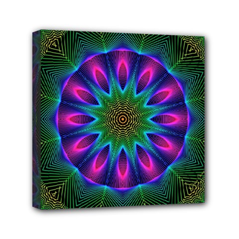 Star Of Leaves, Abstract Magenta Green Forest Mini Canvas 6  x 6  (Framed)