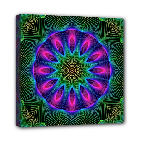Star Of Leaves, Abstract Magenta Green Forest Mini Canvas 8  x 8  (Framed)