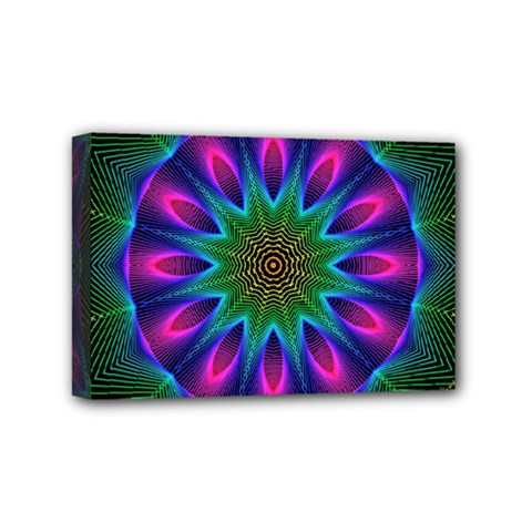 Star Of Leaves, Abstract Magenta Green Forest Mini Canvas 6  x 4  (Framed)