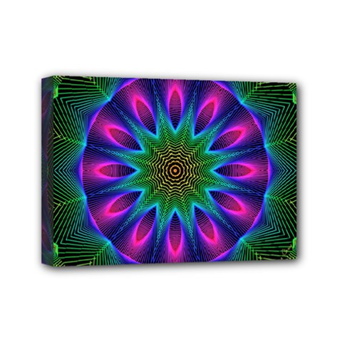 Star Of Leaves, Abstract Magenta Green Forest Mini Canvas 7  x 5  (Framed)