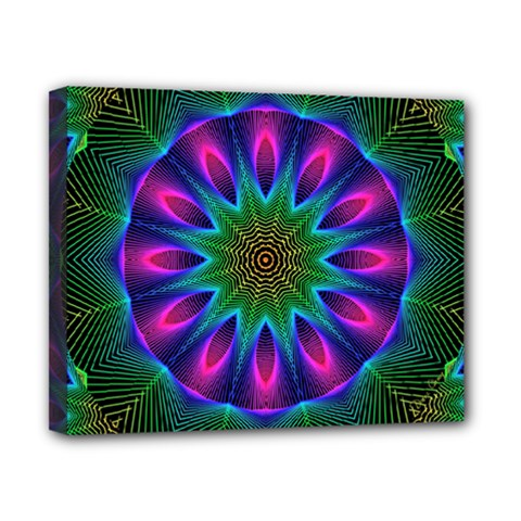 Star Of Leaves, Abstract Magenta Green Forest Canvas 10  x 8  (Framed)
