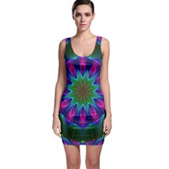 Star Of Leaves, Abstract Magenta Green Forest Bodycon Dress