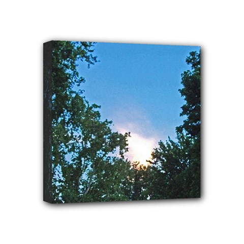 Coming Sunset Accented Edges Mini Canvas 4  X 4  (framed)