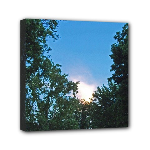 Coming Sunset Accented Edges Mini Canvas 6  x 6  (Framed)