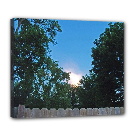Coming Sunset Accented Edges Deluxe Canvas 24  x 20  (Framed)