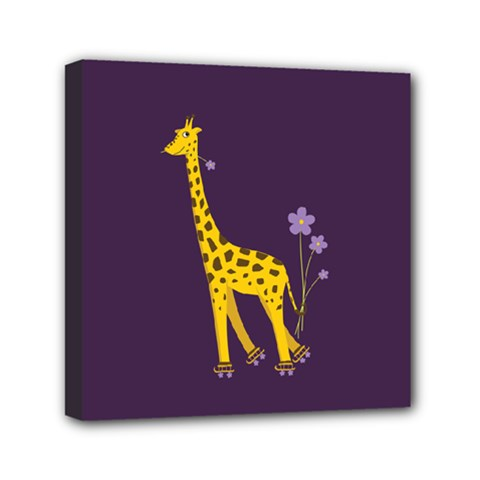 Purple Roller Skating Cute Cartoon Giraffe Mini Canvas 6  x 6  (Framed)