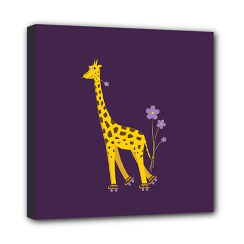 Purple Roller Skating Cute Cartoon Giraffe Mini Canvas 8  x 8  (Framed)