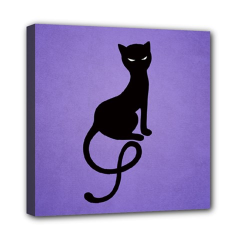 Purple Gracious Evil Black Cat Mini Canvas 8  x 8  (Framed)