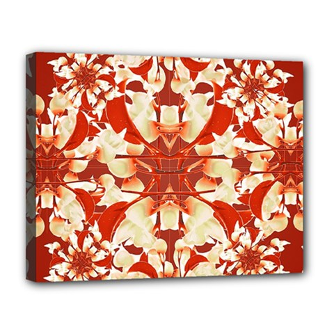 Digital Decorative Ornament Artwork Canvas 14  x 11  (Framed)