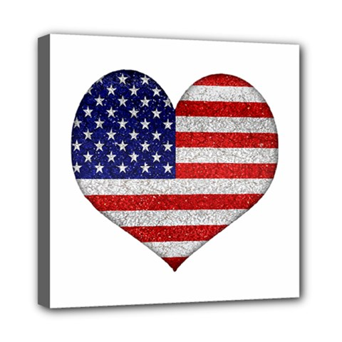 Grunge Heart Shape G8 Flags Mini Canvas 8  x 8  (Framed)