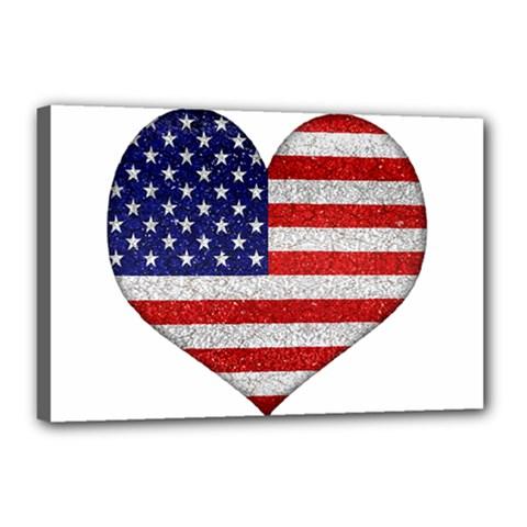 Grunge Heart Shape G8 Flags Canvas 18  x 12  (Framed)