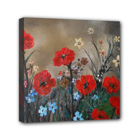 Poppy Garden Mini Canvas 6  x 6  (Framed)