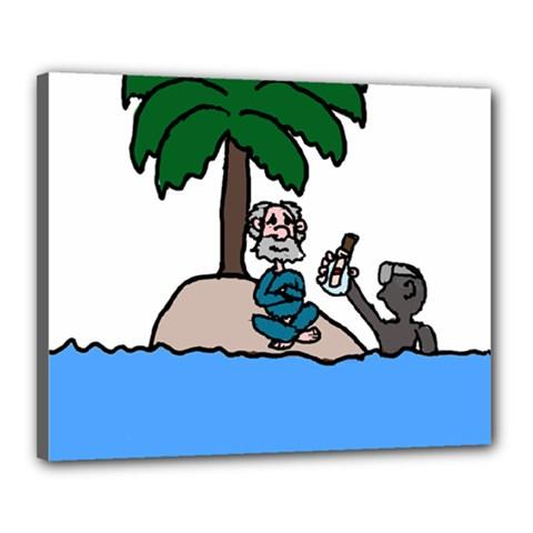 Desert Island Humor Canvas 20  X 16  (framed)