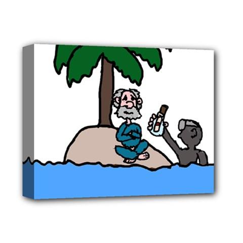 Desert Island Humor Deluxe Canvas 14  x 11  (Framed)