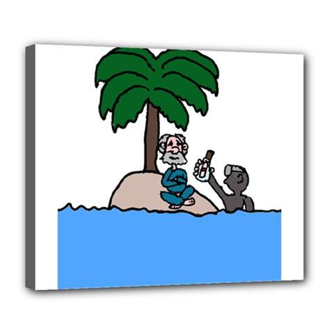 Desert Island Humor Deluxe Canvas 24  X 20  (framed)