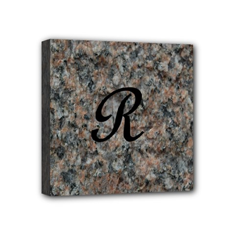 Pink And Black Mica Letter R Mini Canvas 4  x 4  (Framed)