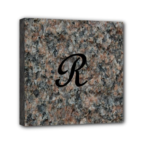 Pink And Black Mica Letter R Mini Canvas 6  x 6  (Framed)