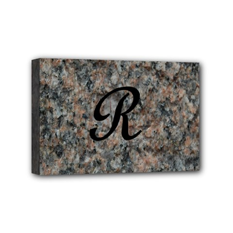 Pink And Black Mica Letter R Mini Canvas 6  x 4  (Framed)