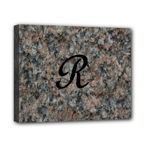 Pink And Black Mica Letter R Canvas 10  X 8  (framed)