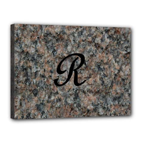 Pink And Black Mica Letter R Canvas 16  x 12  (Framed)