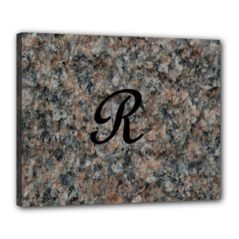 Pink And Black Mica Letter R Canvas 20  x 16  (Framed)