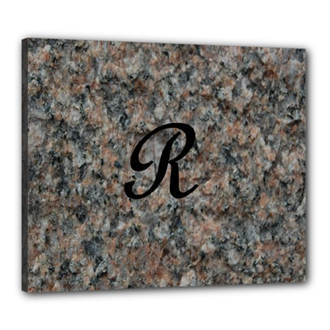 Pink And Black Mica Letter R Canvas 24  x 20  (Framed)