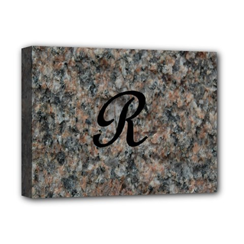 Pink And Black Mica Letter R Deluxe Canvas 16  X 12  (framed)