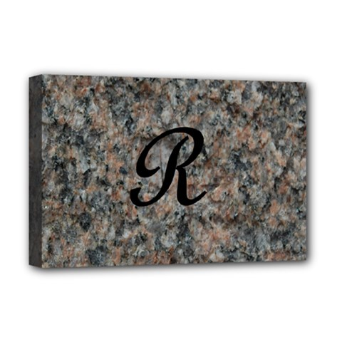 Pink And Black Mica Letter R Deluxe Canvas 18  X 12  (framed)