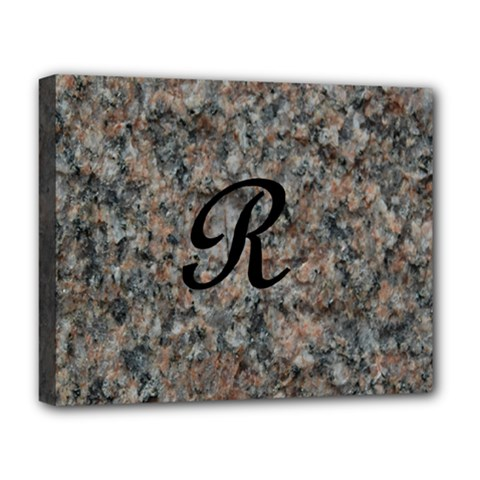 Pink And Black Mica Letter R Deluxe Canvas 20  x 16  (Framed)