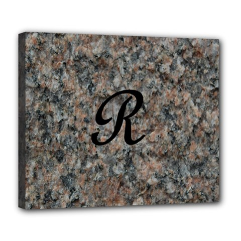 Pink And Black Mica Letter R Deluxe Canvas 24  X 20  (framed)