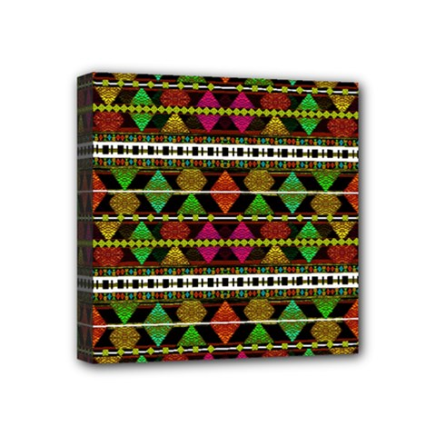 Aztec Style Pattern Mini Canvas 4  x 4  (Framed)