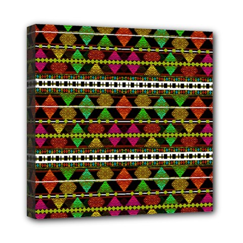 Aztec Style Pattern Mini Canvas 8  x 8  (Framed)