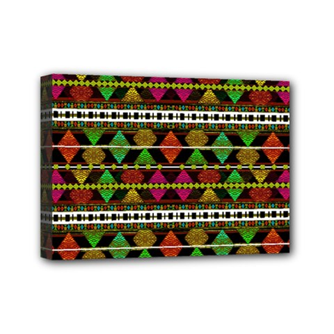 Aztec Style Pattern Mini Canvas 7  x 5  (Framed)