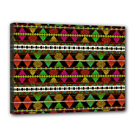 Aztec Style Pattern Canvas 16  X 12  (framed)