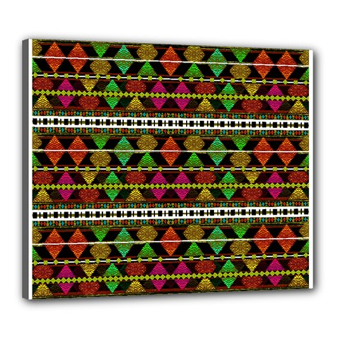 Aztec Style Pattern Canvas 24  x 20  (Framed)