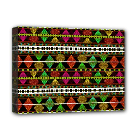 Aztec Style Pattern Deluxe Canvas 16  x 12  (Framed)