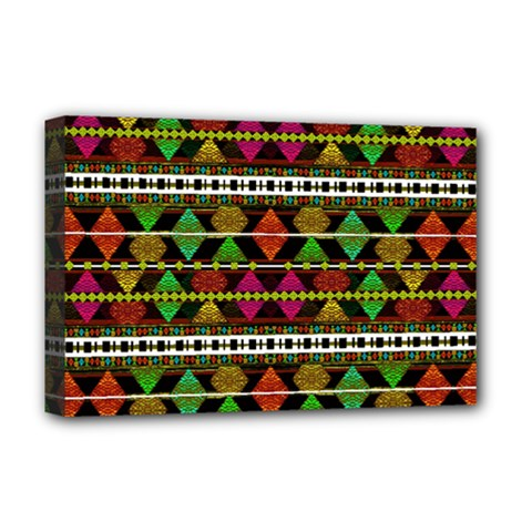 Aztec Style Pattern Deluxe Canvas 18  X 12  (framed)