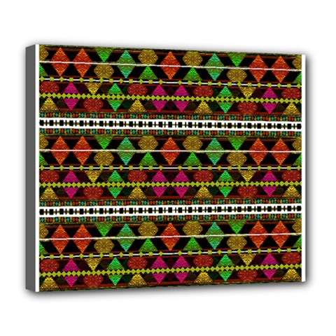 Aztec Style Pattern Deluxe Canvas 24  X 20  (framed)