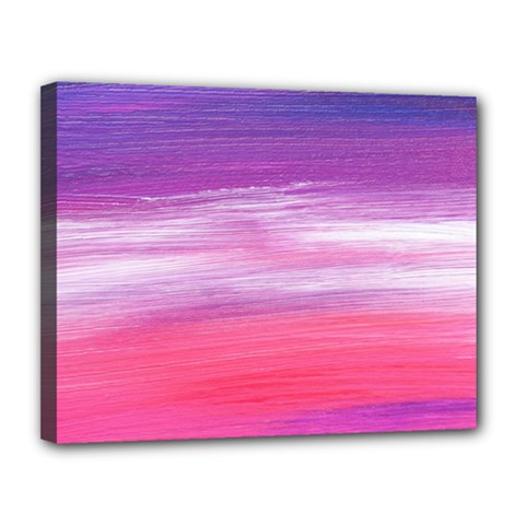 Abstract In Pink & Purple Canvas 14  x 11  (Framed)