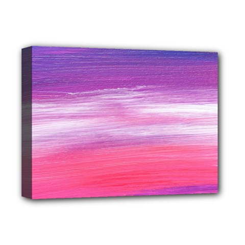 Abstract In Pink & Purple Deluxe Canvas 16  X 12  (framed)