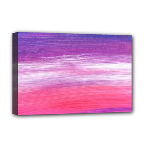 Abstract In Pink & Purple Deluxe Canvas 18  x 12  (Framed)