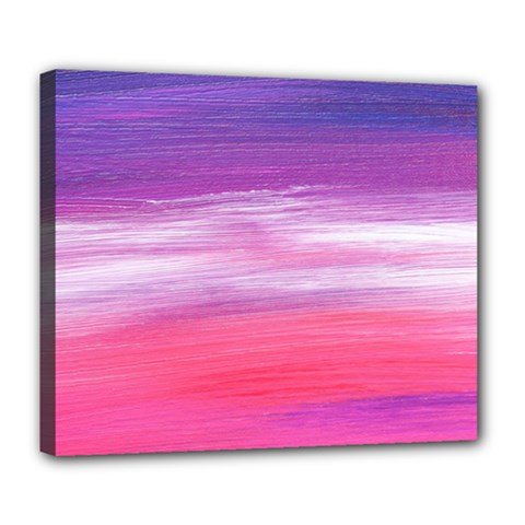 Abstract In Pink & Purple Deluxe Canvas 24  x 20  (Framed)