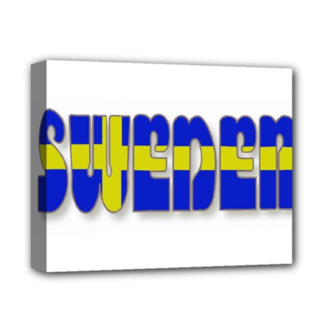 Flag Spells Sweden Deluxe Canvas 14  x 11  (Framed)